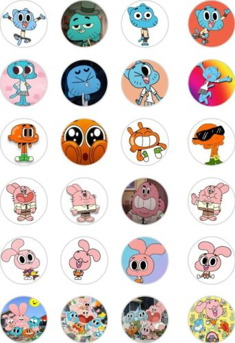 24x PRECUT THE AMAZING WORLD OF GUMBALL RICE//WAFER PAPER CUP CAKE TOPPERS