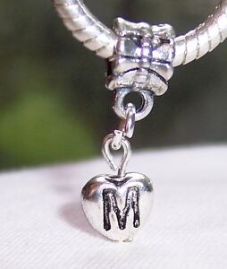 Details about Letter M Heart Alphabet Initial Dangle Charm for Silver  European Bead Bracelets