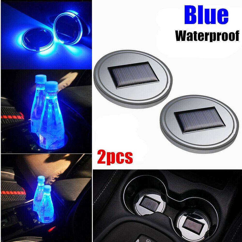Car Parts - 2pcs Solar Cup Pad Car Accessories LED Light Cover Interior Decoration Lights