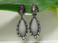 Alexis Bittar Grey Crystal-lace Drop Clip-on Earrings.new$295