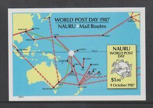 Nauru - 1987, World Post Day sheet - Imperf - MNH - SG MS354