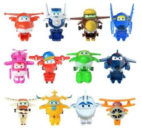 12pcs//set Super Wings Mini Planes Toys Deformation Airplane Robots Donnie Dizzy