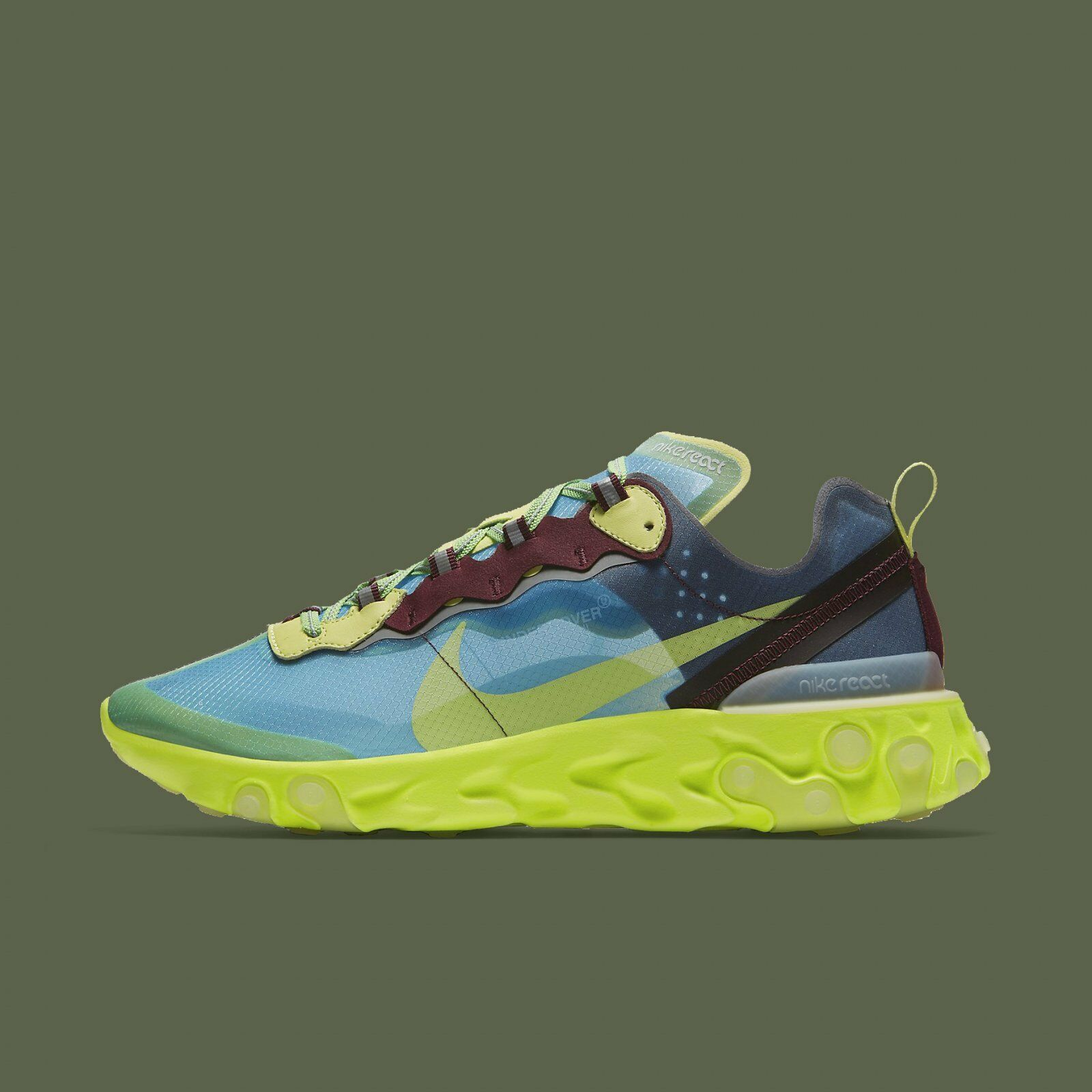 Nike React Element 87 Undercover Lakeside Electric Jaune Hommes Running BQ2718-400
