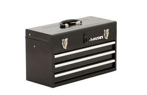 Husky 3 Drawer Black Metal Tool Box Chest Storage Garage ...