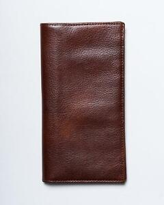 Isaia-Napoli-Nwt-M-Marron-100-Cuir-Grand-Portefeuille-Support-Carte