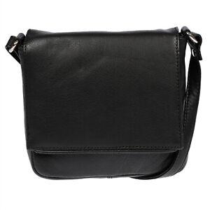 Hochwertige-Leder-Damen-Tasche-Schultertasche-Umhaengetasche-Schwarz-Rindleder