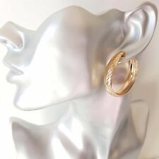 Gorgeous gold tone patterned CLIP - ON wide hoop earrings, 4cm - 1.5""