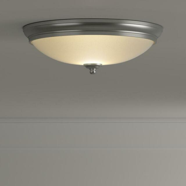 on sale e84dc e48bd Commercial Electric Brushed Nickel 13 in. LED Flush Mount