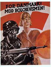 German WW2 Danmark Bolchevismen Waffen SS Officer large Poster
