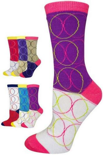 6 Pairs Wholesale Lot Bright Colorful Design Crew Novelty Socks Ladies Teens