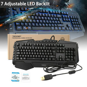 e0d7640a537 Image is loading Wired-Mechanical-Programmable-Gaming-Keyboard-Ergonomic-7- LED-