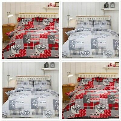 Alpine Patchwork Heart Flannelette Duvet Sets Single Double King Size Bedding
