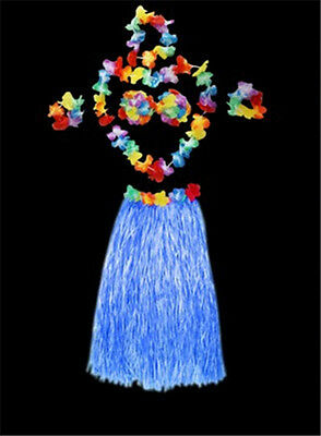 Colorful Hawaiian Hula Dance Luau Party Grass Skirt Bra Garland Lei Costume SET