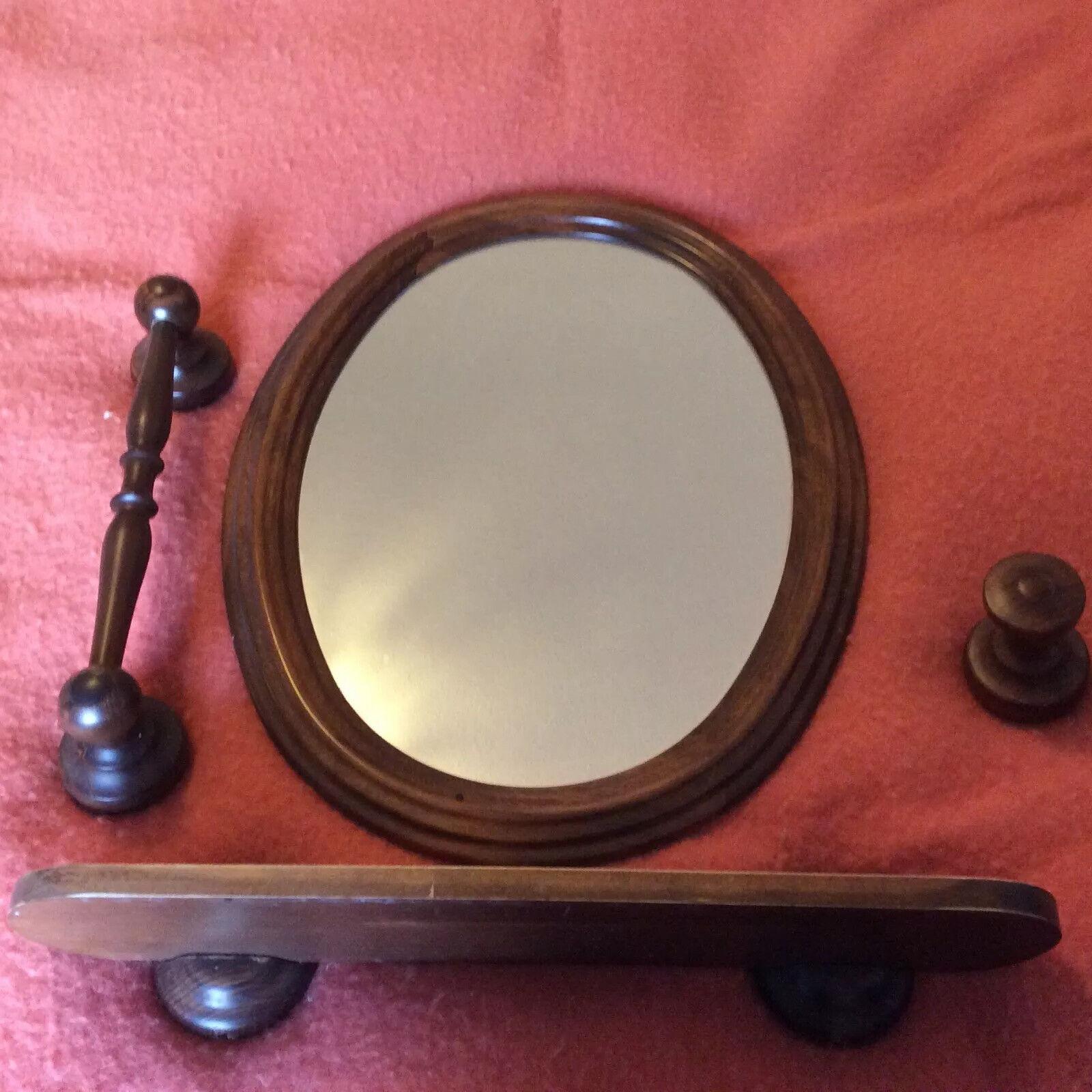 Vintage French Bathroom oval Mirror Towel bar shelf Set solid Wood accessories