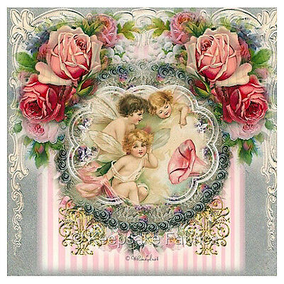 Whimsy Dust Angels & Roses Fabric Quilt Block Multi Szs FrEE ShiP WoRld Wide (W8