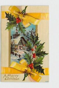 PPC-POSTCARD-MERRY-CHRISTMAS-CHURCH-HOLLY-YELLOW-RIBBON-EMBOSSED