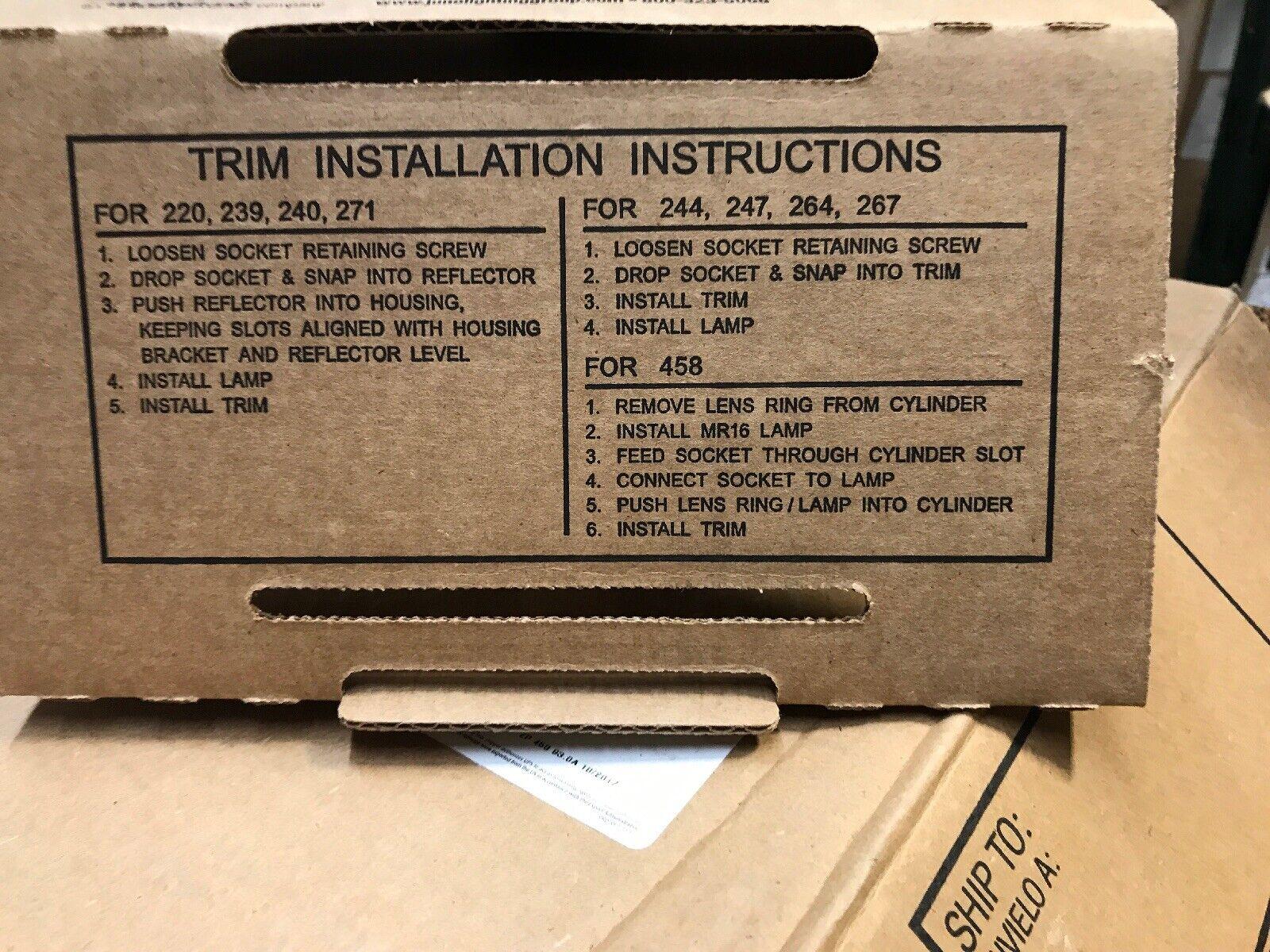 "NEW Juno Down-Lites 264W-WH 6/"" PAR30 Adjustable Tapered Baffle//Trim White"