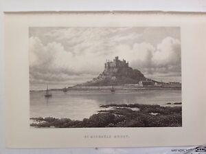 St-Michaels-Mount-Antique-Print-c1897-Brabner-Original