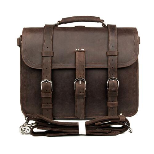 Men/'s Crazy Horse Leather Briefcase 16.5 Inch Laptop Bag Travel Huge Bag