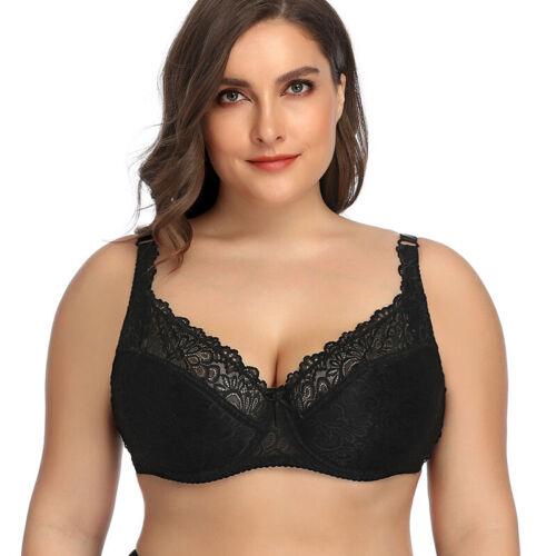 Womens Minimizer Full Coverage Bra Satin /& Lace Non Padded Comfort Bra Plus Size