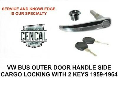 VW BUS SIDE CARGO OUTER DOOR HANDLE WITH 2 KEYS 1959-1964  211841631C
