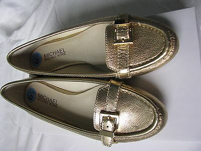 Michael Kors Gold Leather Loafer Shoes Size 6.5 NEW