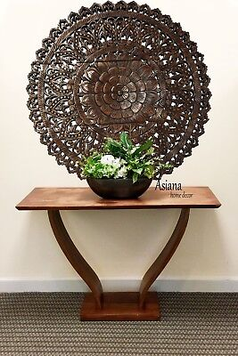 Large Round Carved Wood Floral Wall Art Panel Tropical Home Decor Asian Inspired Ebay