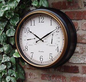 Jardin-exterieur-Horloge-Murale-Thermometre-amp-Humidite-45-cm-Station-Black-Gold-Rim