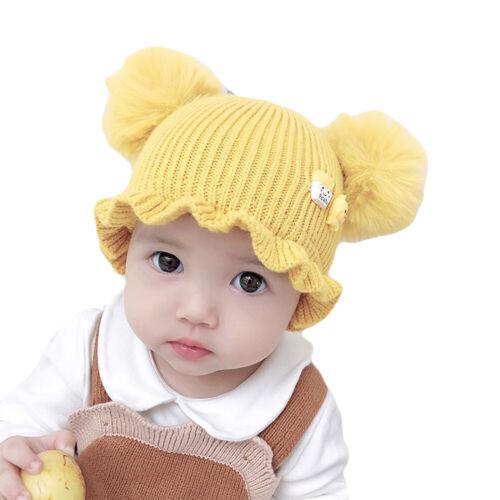 BABY BOY GIRL KIDS POMPOMS HAT BEANIE CAP WINTER WARM RUFFLE RIM KNITTED TODDLER
