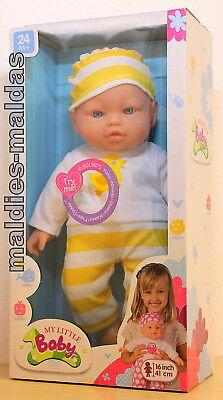 Puppen & Zubehör My Little Baby Puppe Weichkörper Gelb/weiß Ca 41 Cm Und Geräusche 27007y Evident Effect