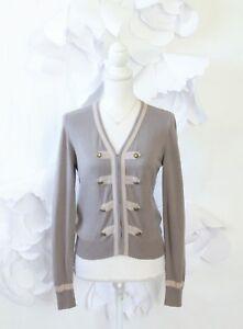 CAbi-Military-Cardigan-Sweater-Women-039-s-M-Beige-Brown-V-Neck-LS