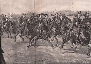 DÉFILÉ MILITAIRE HIPPODROME LONGCHAMPS CAVALERIE 1886 GRAVURE ANTIQUE PRINT - France - Authenticité: Original - France