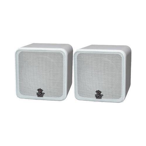 Pyle PCB4WT 4'' 200W White Mini Cube Bookshelf Speaker (Pair)