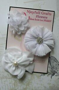 HANDMADE-3-Flowers-WHITE-Mix-Organza-Satin-Fabric-50-75-mm-Njoyfull-Crafts