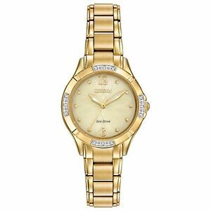 Citizen Eco-Drive Women's Diamond Accents Gold-Tone 30mm Wrist Watch EM0452-58P