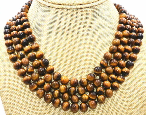 """Belle 8 mm 4ROW Round Natural Tiger/'s Eye Gemstone Beads Necklace 17-20/"""" AAA"""