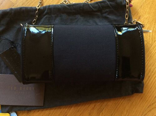 Brand Baker Handbag Small Clutch Leather Black Patent Ted New 0SzgHWg