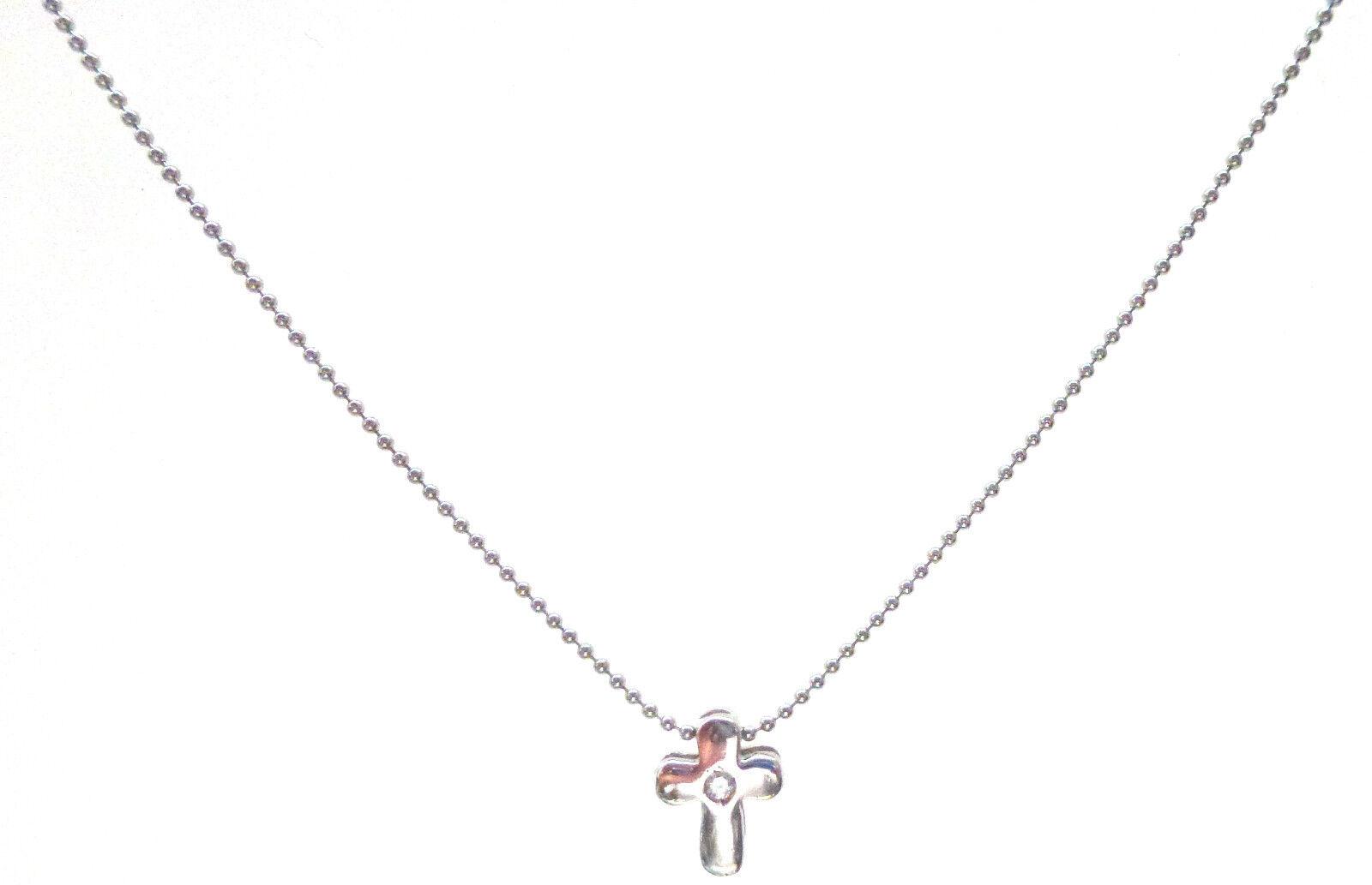 9ct  White gold Bead Chain with Diamond Set  Cross