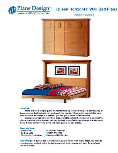 Easy Murphy Horizontal Queen Size Wall Bed Frame Woodworking Plans