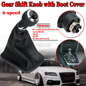 6 SPEED SHIFTER GEAR SHIFT KNOB GAITER BOOT COVER FOR AUDI A3 A4 A5 Q