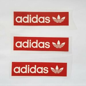 3 Logo Adidas Iron on T Shirt Vinyle Transfert Thermique Red Tag, Royaume-Uni vendeur