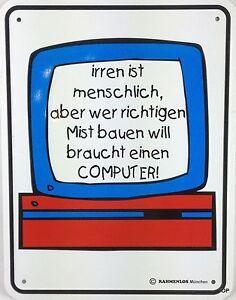 Letrero-de-Metal-con-Dicho-034-Err-Es-Menschlich-para-Mist-Ordenador-034-Letrero