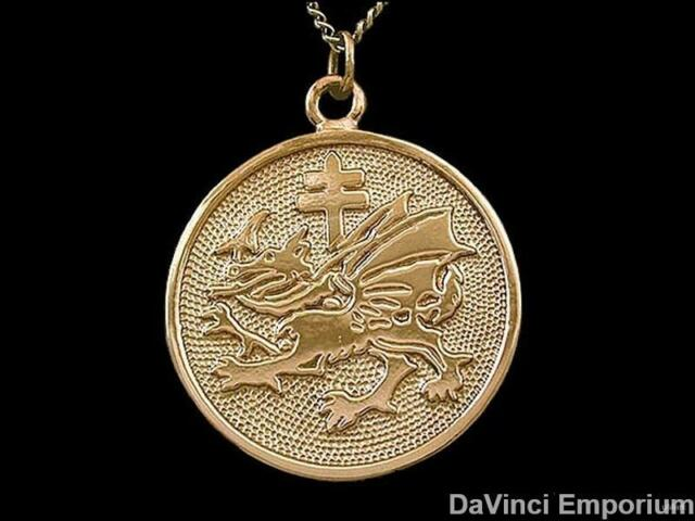 14k Yellow Gold Vlad Dracula Order of the Dragon Pendant Necklace