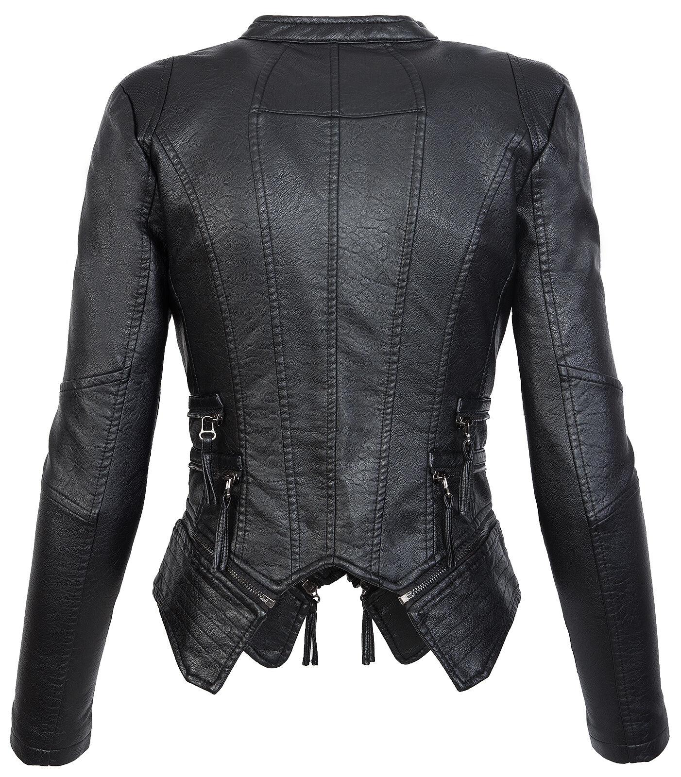 Damen Leder S D Jacke Jacke XL Bikerjacke 305 Übergangs Optik NEU Kunstleder 8knXw0ZNOP