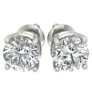 I1-G-2-10Ct-Natural-Round-Diamond-Solitaire-Stud-Earrings-14K-White-Gold-6-31-mm