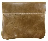 Leather Squeeze Coin Pouch Usa Made, Distressed Tan