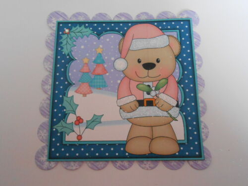 PK 2 LIVVY BEAR MISLETOE EMBELLISHMENT TOPPERS FOR CARDS OR CRAFTS