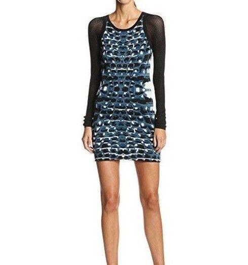 Parker Ny Damen Hartley Blau Gestricktes Kleid Fischnetz   Netz Langärmlig