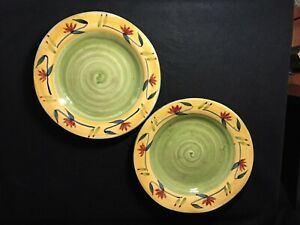 PIER-1-034-Elizabeth-034-Pair-2-of-Dinner-Plates-Green-Yellow-Flowers