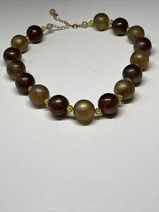 Collier Ancien Vintage Perles Marron Jaune R 7